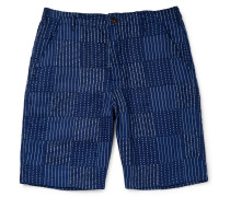 Wide-leg Panelled Indigo-dyed Cotton Shorts