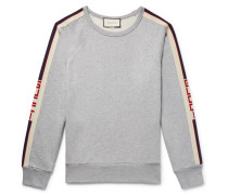 Webbing-trimmed Loopback Cotton-jersey Sweatshirt