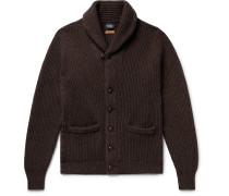 Slim-fit Shawl-collar Ribbed Wool Cardigan - Dark brown