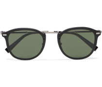 Round-frame Leather-trimmed Acetate And Gunmetal-tone Sunglasses - Black