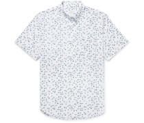 Button-down Collar Flamingo-print Cotton Shirt