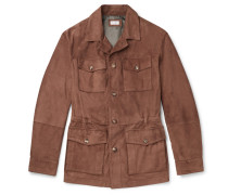 Suede Field Jacket - Brown
