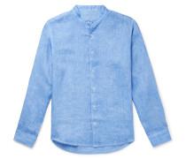 Grandad-Collar Linen Shirt