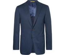 Navy Kei Slim-fit Cotton-blend Suit Jacket - Navy