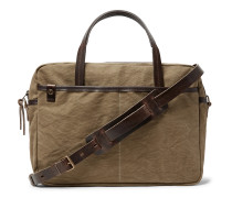 Leather-Trimmed Canvas Briefcase