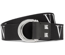 Valentino Garavani 3.5cm Black Logo-Jacquard Webbing Belt