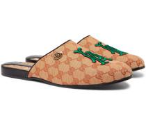 + Los Angeles Dodgers Flamel Appliquéd Monogrammed Canvas Backless Loafers - Beige