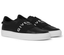 Urban Street Logo-print Leather Slip-on Sneakers - Black