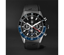 Carrera GMT Automatic Chronograph 45mm Stainless Steel and Rubber Watch, Ref. No. CBG2A1Z.FT6157