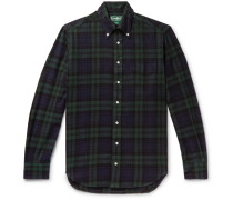 Button-Down Collar Black Watch Checked Brushed Cotton-Flannel Shirt