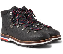 Peak Pebble-grain Leather Hiking Boots - Black