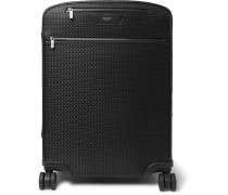 Leather-Trimmed Stepan Coated-Cotton Carry-On Suitcase