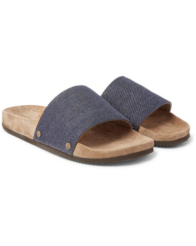 Denim And Suede Slides