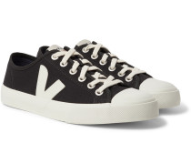 Wata Rubber-trimmed Organic Cotton-canvas Sneakers - Black