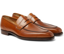 George Burnished-leather Penny Loafers - Tan