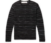 Slim-fit Striped Knitted Sweater - Black