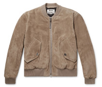 Faux Leather and Cotton Corduroy-Trimmed Suede Bomber Jacket