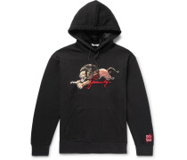 Logo-embroidered Printed Loopback Cotton-jersey Hoodie