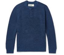 Mélange Cotton Henley Sweater