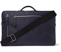 Leather-trimmed Ripstop Briefcase - Navy