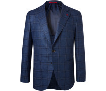 Blue Checked Wool And Silk-blend Hopsack Blazer - Blue
