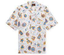 + Paula's Ibiza Camp-collar Printed Cotton Shirt - White