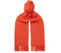 Canada Fringed Wool Scarf - Orange