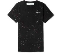 Paint-splattered Cotton-jersey T-shirt - Black