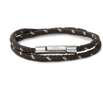 Woven Leather and Silver-Tone Wrap Bracelet