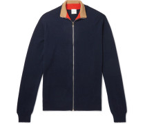 Cashmere Zip-up Cardigan - Navy
