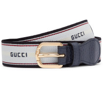 3cm Logo-detailed Stretch-webbing And Leather Belt - White