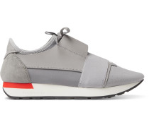 Race Runner Leather, Suede And Neoprene Sneakers - Gray