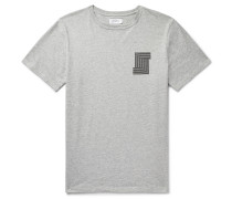 Printed Mélange Cotton-jersey T-shirt - Gray