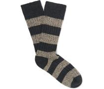 Striped Ribbed Mélange Stretch Merino-wool Blend Socks