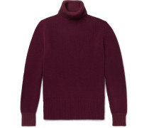 Wool And Cotton-blend Rollneck Sweater - Burgundy