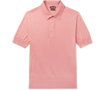 Slim-fit Cashmere And Silk-blend Piqué Polo Shirt - Pink