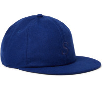 Rich Embroidered Wool-blend Baseball Cap - Blue