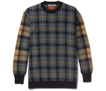 Oversized Checked Virgin Wool Sweater