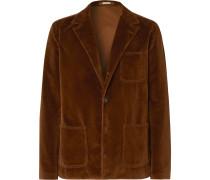 Brown Slim-Fit Unstructured Cotton-Velvet Blazer