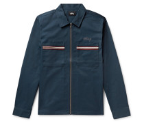 Stripe-trimmed Logo-embroidered Twill Shirt - Navy