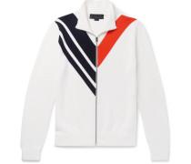Chevron Virgin Wool Zip-up Sweater - Ivory