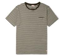 Héritage Striped Cotton And Linen-blend T-shirt - Dark green