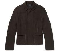 Contrast-stitched Linen Jacket