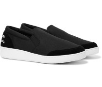 Cole Logo-Print Suede-Trimmed Canvas Slip-On Sneakers