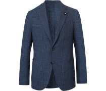 Navy Slim-Fit Prince of Wales Checked Cotton and Linen-Blend Blazer