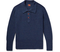 Ribbed Merino Wool Half-placket Sweater - Storm blue