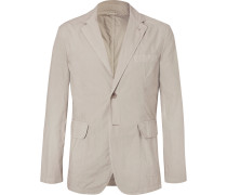 Cream Slim-fit Unstructured Cotton Blazer