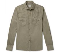 Cutaway-collar Cotton Shirt - Green