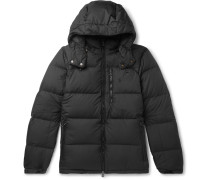 Quilted Ripstop Hooded Down Jacket - Black