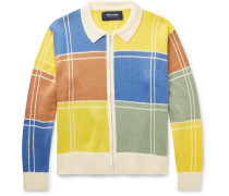 Colour-Block Knitted Zip-Up Sweater